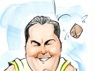 Dale Okonow Caricature Football Player