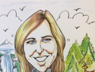 caricature of Tracy Streckenbach hiking by waterfall